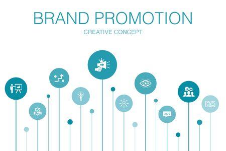 Ilustración de brand promotion Infographic 10 steps template.strategy, marketing, personal brand, advertising icons - Imagen libre de derechos