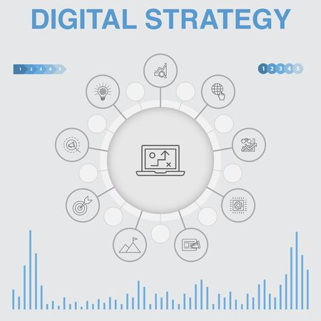 Illustration pour digital strategy infographic with icons. Contains such icons as Contains such icons as internet, SEO, content marketing, mission - image libre de droit