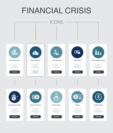Illustrazione per financial crisis nfographic 10 steps UI design.budget deficit, Bad loans, Government debt, Refinancing simple icons - Immagini Royalty Free
