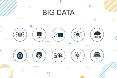 Ilustración de Big data trendy Infographic template. Thin line design with Database, Artificial intelligence, User behavior, Data center icons - Imagen libre de derechos