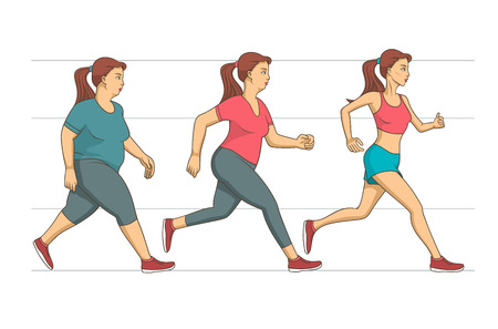 Illustration pour Young woman making her run workout to lose an overweight of her body.  - image libre de droit