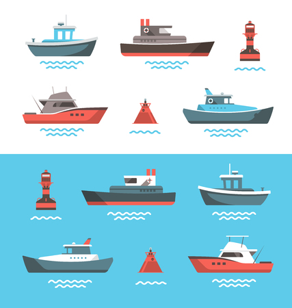 Ilustración de Set of little boats and buoys with blue sea background and isolated on white. Side view illustration. - Imagen libre de derechos