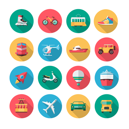 Ilustración de Collection of icons which contains illustrations of major land, air and sea vehicles. - Imagen libre de derechos