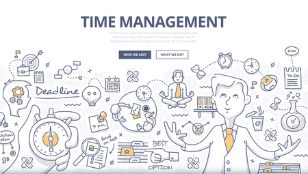 Illustration pour Doodle design style concept of effective businessman who plans and organizes working time, deals deadlines, achieves goals. Modern line style illustration for web banners, hero images, printed materials - image libre de droit