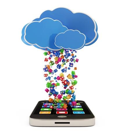 Photo pour Touchscreen Smartphone Downloading APPS  Cloud Computing Concept - image libre de droit