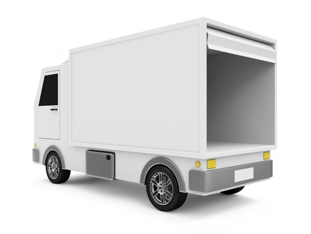 Photo pour White Delivery Van on white background - image libre de droit