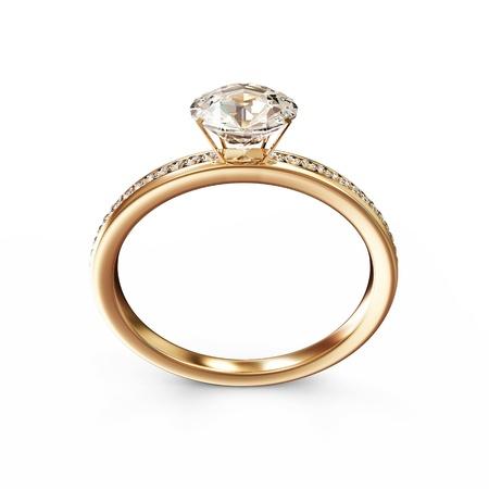 Foto de Golden Wedding Ring with Diamonds isolated on white background - Imagen libre de derechos