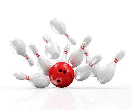 Red Bowling Ball crashing into the Pins isolated on white background
