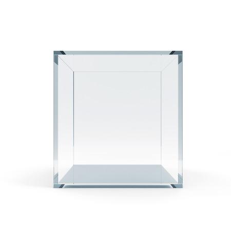 Foto de Empty Glass Cube isolated on white background - Imagen libre de derechos