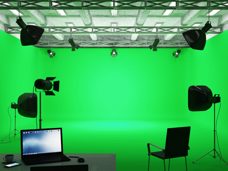 Foto de Pavilion Interior of Modern Film Studio with Green Screen and Light Equipment - Imagen libre de derechos