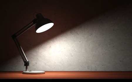 Photo for Metal Desk Lamp at Night on the Wooden Table - Royalty Free Image
