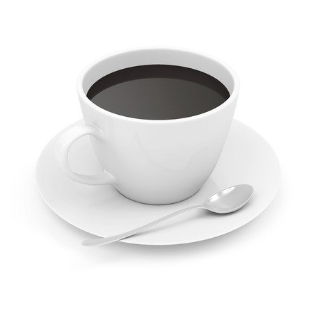 Photo pour Cup of Coffee on Saucer with Spoon isolated on white background - image libre de droit