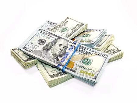Foto de Stack of Dollar Bills isolated on white background - Imagen libre de derechos