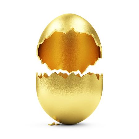 Foto de Success Symbol or Happy Easter Concept. Empty Broken Big Golden Egg isolated on white background - Imagen libre de derechos