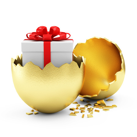 Foto de Happy Easter Concept. Big Broken Golden Egg with Gift Box Inside isolated on white background - Imagen libre de derechos