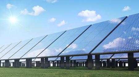 Photo pour Alternative Energy Concept. Modern Solar Panels Farm on beautiful Green Grass with Sunshine and Clouds - image libre de droit