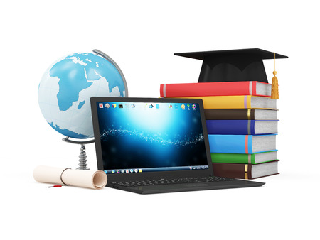 Foto de Electronic Educational Technology or ELearning Concept. Modern Laptop with Desk Globe Graduation Cap Diploma and Stack of Colorful Books. Elements of this image furnished by NASA - Imagen libre de derechos
