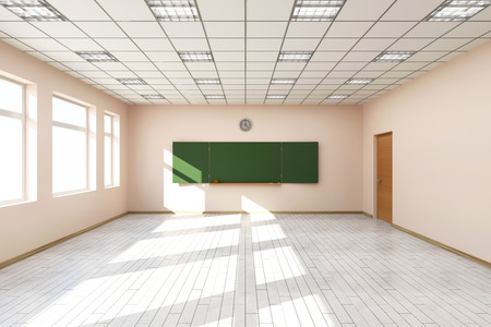 Photo pour Modern Empty Classroom 3D Interior in Light Tones with Green Chalkboard on the Wall. 3D Rendering - image libre de droit