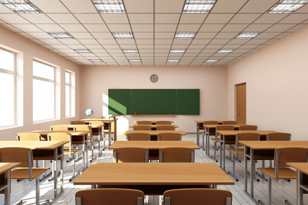 Photo for Modern Classroom 3D Interior in Light Tones. 3D Rendering - Royalty Free Image