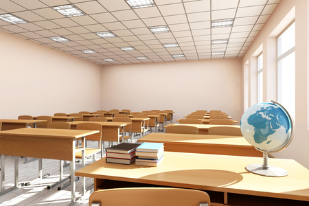 Photo pour Modern Classroom 3D Interior in Light Tones. 3D Rendering - image libre de droit