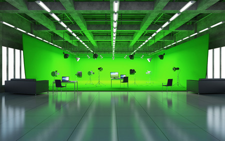 Photo for Large Pavilion Interior of Modern Film Studio with Green Screen and Light Equipment. 3D Rendering - Royalty Free Image