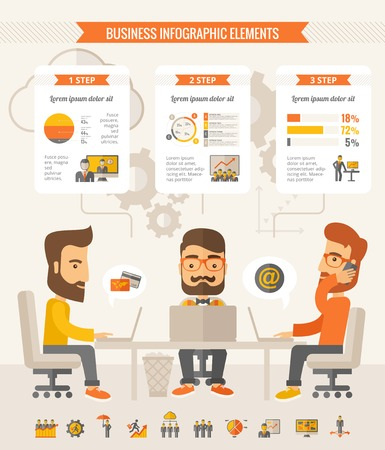 Illustration pour Three businessmen with beards discussing ideas at the table. Vector flat design Infographic Template. Customizable Elements. - image libre de droit