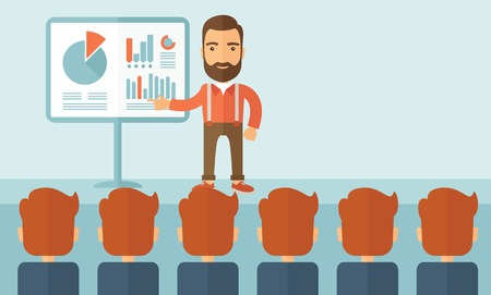 Illustration pour The man with a beard presenting his report through infographics in office. Reporting concept. Vector flat design illustration. Vertical layout with a text space in a top right corner. - image libre de droit