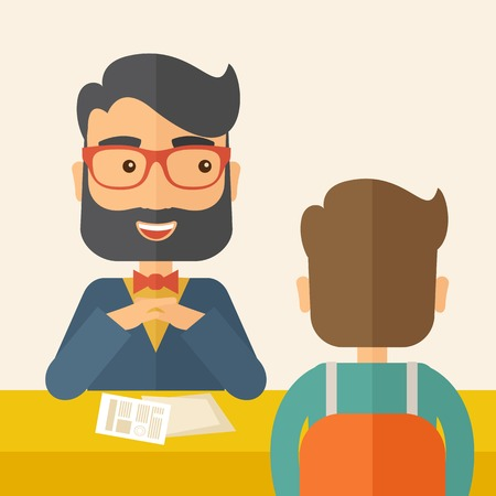 Illustration pour A smiling Caucasian human resource manager with beard interviewed the applicant with his curriculum vitae for the job vacancy.  Employment, recruitment concept. A contemporary style with pastel palette, beige tinted background. Vector flat design illustra - image libre de droit