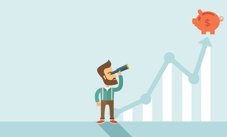 Ilustración de A man standing using telescope to see the graph and piggy bank is on the top of the arrow, it is a sign of progress a business sales is going up. Growing business concept. A contemporary style with pastel palette soft blue tinted background. Vector flat d - Imagen libre de derechos