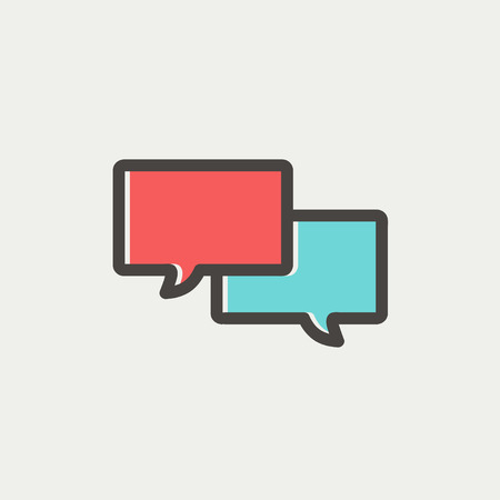 Illustration pour Two speech bubbles icon icon thin line for web and mobile, modern minimalistic flat design. Vector icon with dark grey outline and offset colour on light grey background. - image libre de droit