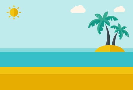 Illustration pour A tropical sea island with palm trees and sun. A Contemporary style with pastel palette, soft blue tinted background with desaturated clouds. Vector flat design illustration. Horizontal layout. - image libre de droit