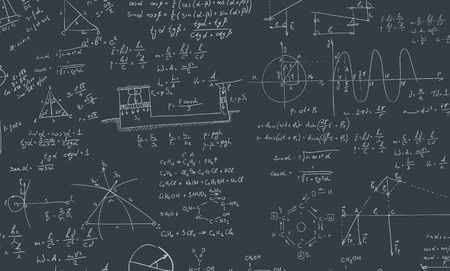 Illustration pour A blackboard with algebra formula. A Contemporary style. Vector flat design illustration isolated black background. Square layout - image libre de droit