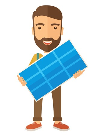 Illustration pour A happy young man standing while holding a solar panel. A Contemporary style. Vector flat design illustration isolated white background. Vertical layout - image libre de droit