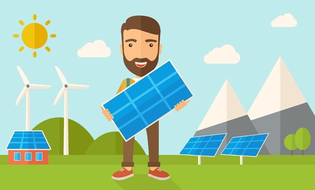 Illustration pour A happy young man standing while holding a solar panel under the heat of the sun. A Contemporary style with pastel palette, soft blue tinted background with desaturated clouds. Vector flat design illustration. Horizontal layout. - image libre de droit