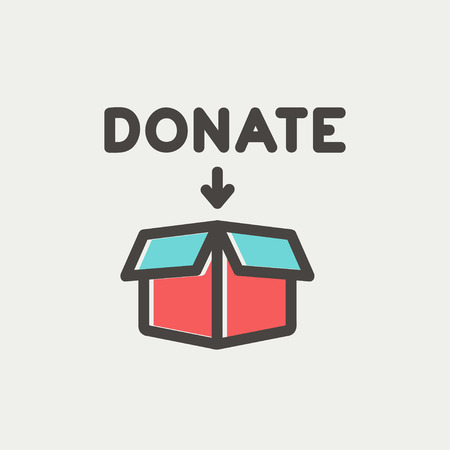 Illustration pour Donation box icon thin line for web and mobile, modern minimalistic flat design. Vector icon with dark grey outline and offset colour on light grey background. - image libre de droit