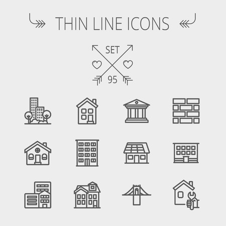 Foto für Construction thin line icon set for web and mobile. Set includes - museum, house with solar panel, bridge, building, bricks, hotel. Modern minimalistic flat design. Vector dark grey icon on light grey background - Lizenzfreies Bild