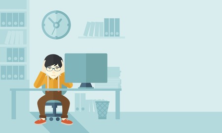 Illustration for An overworked japanese businessman sitting infront of computer holding his head by two hands, under stress causing a headache. Unhappy concept. A contemporary style with pastel palette soft blue tinted background. Vector flat design illustration. Horizont - Royalty Free Image
