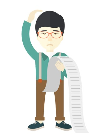 A sad japanese employee standing holding a paper feels headache and worries about paying a lot of bills. Problem, worries concept. A Contemporary style. Vector flat design illustration isolated white background. Vertical layout