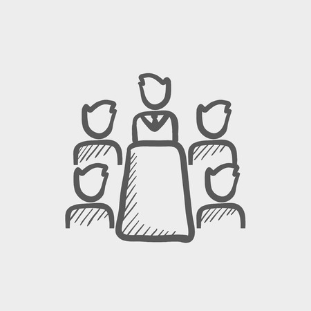 Illustration pour Business meeting in office sketch icon for web and mobile. Hand drawn vector dark grey icon on light grey background. - image libre de droit