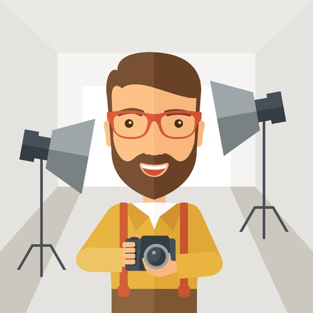Illustration pour A Caucasian photographer smiling while inside the studio preparing the light and his camera to take a picture. A Contemporary style with pastel palette, soft grey tinted background. Vector flat design illustration. Square layout - image libre de droit