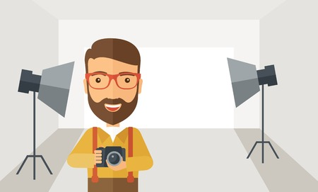 Illustration pour A Caucasian photographer smiling while inside the studio preparing the light and his camera to take a picture. A Contemporary style with pastel palette, soft grey tinted background. Vector flat design illustration. Horizontal layout. - image libre de droit