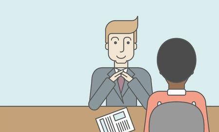 Illustration pour A smiling caucasian human resource manager interviewed the applicant with his curriculum vitae for the job vacancy. Employment concept. Vector line design illustration. Horizontal layout with a text space. - image libre de droit