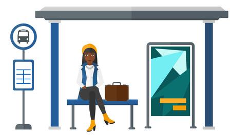 Ilustración de An african-american woman waiting for a bus at a bus-stop vector flat design illustration isolated on white background. - Imagen libre de derechos