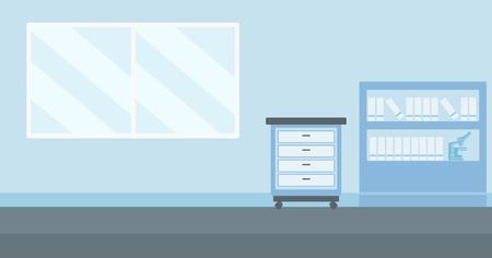 Illustration pour Background of doctor office vector flat design illustration. Horizontal layout. - image libre de droit