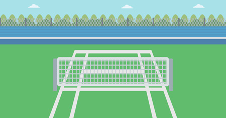 Background of tennis court. Outdoor tennis court vector flat design illustration. A tennis court in an arena. Sport concept. Horizontla layout.