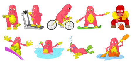 Set of cute big pink monsters engaged in various kinds of sports such as running on treadmill, bicycling, rugby, swimming, snorkeling, kayaking. Vector cartoon illustration isolated on white background.