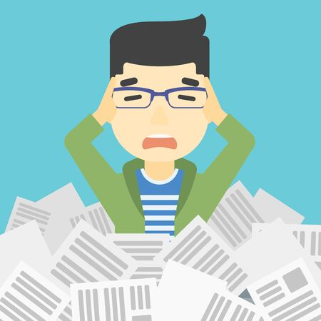 Illustration pour An asian stressed man clutching his head because of having a lot of work to do. Busy businessman with lots of papers. Vector flat design illustration. Square layout. - image libre de droit