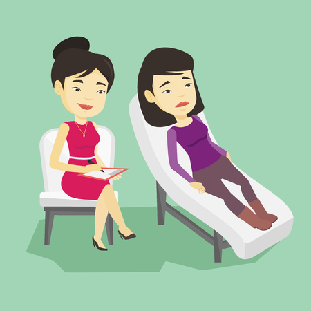 Illustration pour Asian patient lying on sofa and talking about problems with psychotherapist or psychologist. Psychologist having session with patient in depression. Vector flat design illustration. Square layout. - image libre de droit
