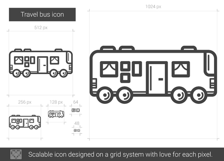 Illustration pour Travel bus vector line icon isolated on white background. Travel bus line icon for infographic, website or app. Scalable icon designed on a grid system. - image libre de droit