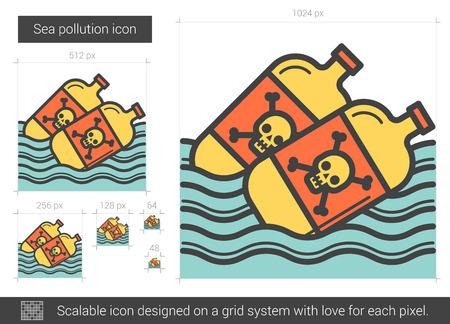 Ilustración de Sea pollution line icon. - Imagen libre de derechos